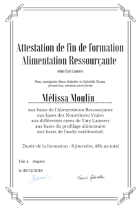 Formation alimentation ressourçante attestation Taty Lauwers